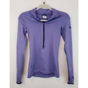 Nike Pre Dri Fit Womens Quarter Zip Purple Pull Up